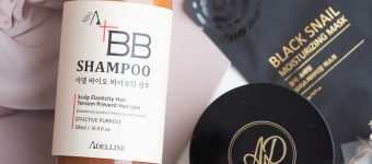 Adelline BB шампунь Adel Bio Biotin Shampoo & патчи Collagen Gold Hydro-Gel Eye Patch
